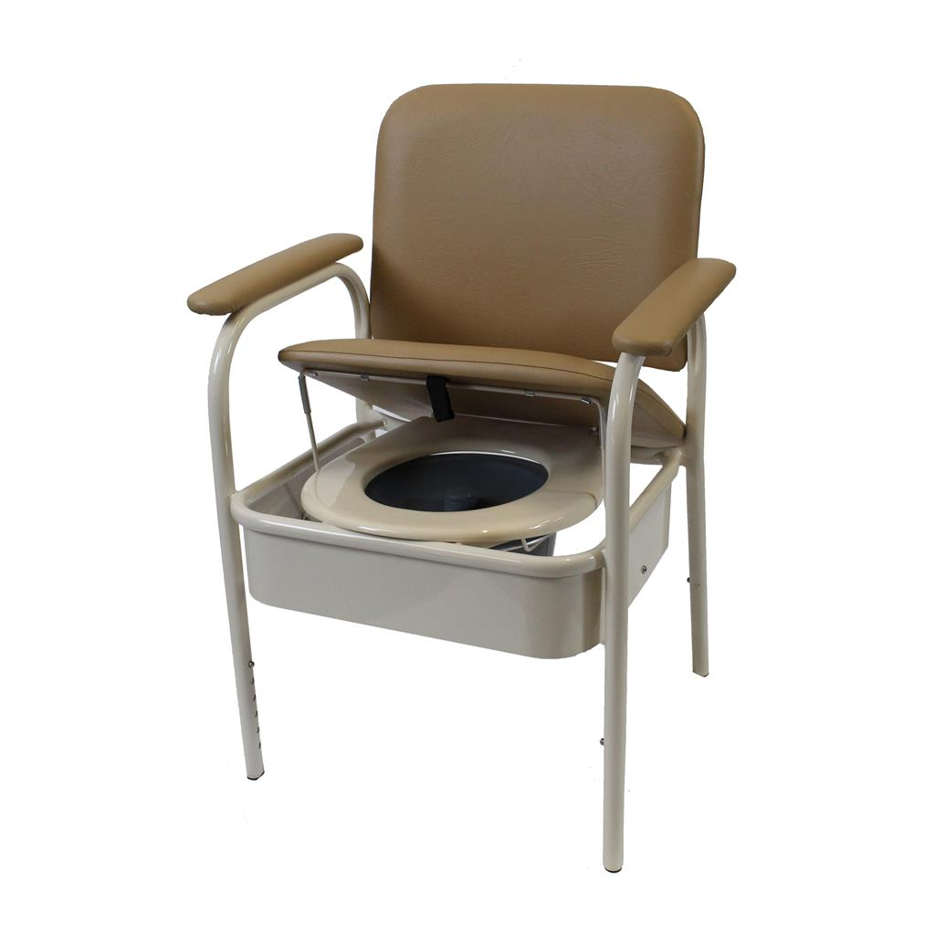 Deluxe Bedside Commode - Champagne 520mm