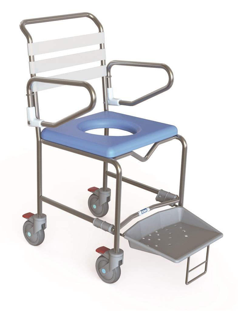 Transit Mobile Shower Commode with Slideout Footplate - 445mm