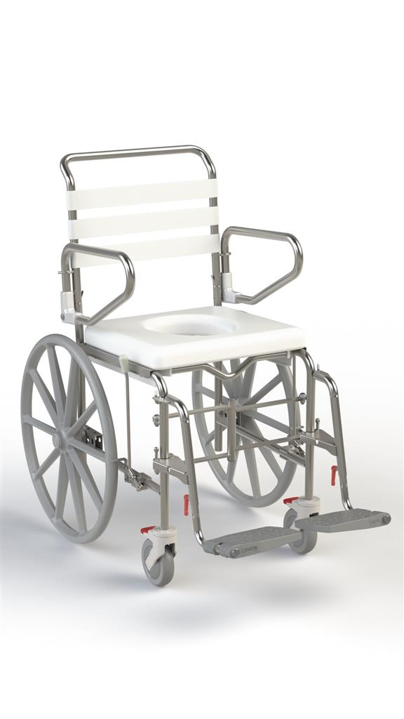 Self Propel Folding Mobile Shower Commode with Swingaway Footrest - 445mm