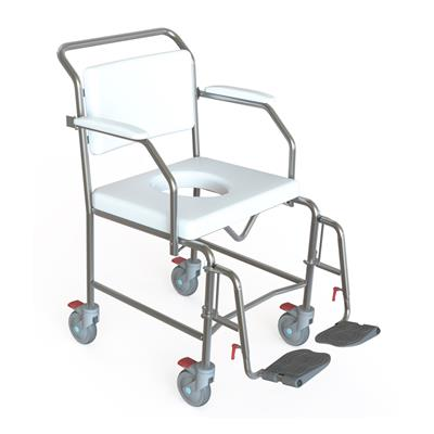 Transit Mobile Shower Commode with Swingaway Footrests - 550mm